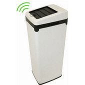 14 Gallon White Steel Automatic Sensor Touchless Trash Can with Space Saving Lid