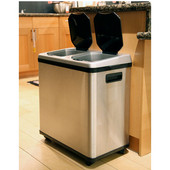 16 Gallon Dual-Compartment Stainless Steel Automatic Sensor Touchless Recycle Bin/Trash Can