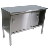 EBSS6 Series 16-Gauge Stainless Steel 84'' W x 30'' D Enclosed Base Flat Top Work Table with Sliding Doors