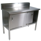EBSS6R5 Series 16-Gauge Stainless Steel 84'' W x 30'' D Enclosed Base Work Table with 5'' Riser and Sliding Doors
