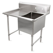 B-Series Compartment Single Bowl Sink 24'' W x 24'' D x 14'' Bowl Depth with 24'' Left Drainboard, 16-Gauge Stainless Steel