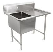 B-Series Compartment Single Bowl Sink 18'' W x 24'' D x 14'' Bowl Depth with 24'' Right Drainboard, 16-Gauge Stainless Steel