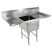 B-Series Compartment Single Bowl Sink 18'' W x 18'' D x 14'' Bowl Depth with 18'' Left and Right Drainboards, 16-Gauge Stainless Steel