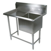 Pro Bowl NSF Compartment Single Bowl Sink 24'' W x 30'' D x 12'' Bowl Depth with 12'' Left Drainboard, 16-Gauge Stainless Steel
