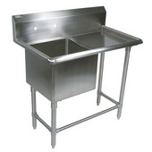Pro Bowl NSF Compartment Single Bowl Sink 24'' W x 24'' D x 14'' Bowl Depth W/24'' Right Drainboard, 16-Gauge Stainless Steel