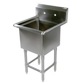 Pro Bowl NSF Compartment Single Bowl Sink 24'' W x 24'' D x 12'' Bowl Depth with No Drainboard, 16-Gauge Stainless Steel
