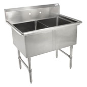 B-Series Compartment Double Bowl Sink (2) 18'' W x 24'' D x 14'' Bowl Depth with No Drainboard, 16-Gauge Stainless Steel