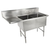 B-Series Compartment Double Bowl Sink (2) 18'' W x 24'' D x 14'' Bowl Depth with 18'' Left Drainboard, 16-Gauge Stainless Steel