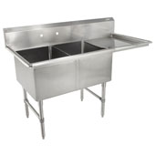 B-Series Compartment Double Bowl Sink (2) 16'' W x 20'' D x 14'' Bowl Depth with 18'' Right Drainboard, 16-Gauge Stainless Steel