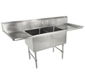 B-Series Compartment Double Bowl Sink (2) 16'' W x 20'' D x 14 Bowl Depth with 30'' Left and Right Drainboards, 16-Gauge Stainless Steel