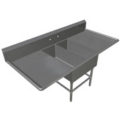 Pro Bowl NSF Platter Double Bowl Sink (2) 14'' W x 31'' D x 14'' Bowl Depth with 30'' Left and Right Drainboards, 16-Gauge Stainless Steel
