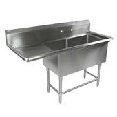 Pro Bowl NSF Compartment Double Bowl Sink (2) 16'' W x 18'' D x 12'' Bowl Depth with 24'' Left Drainboard, 16-Gauge Stainless Steel, (2) 16''W x 18''D x 12''H Bowls
