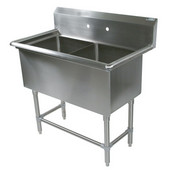 Pro Bowl NSF Compartment Double Bowl Sink (2) 18'' W x 24'' D x 12'' Bowl Depth with No Drainboard, 16-Gauge Stainless Steel