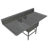 Pro Bowl Platter Sink, with 18'' Left Drainboard, 16 Gauge Stainless Steel, (2) 14''W x 31''D x 12''H Bowls