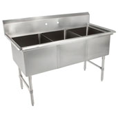 B-Series Compartment Three Bowl Sink (3) 16'' W x 20'' D x 14'' Bowl Depth with No Drainboard, 16-Gauge Stainless Steel