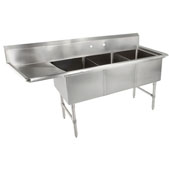B-Series Compartment Three Bowl Sink (3) 16'' W x 20'' D x 14'' Bowl Depth with 18'' Left Drainboard, 16-Gauge Stainless Steel