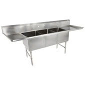 B-Series Compartment Three Bowl Sink (3) 20'' W x 30'' D x 14'' Bowl Depth with 24'' Left and Right Drainboards, 16-Gauge Stainless Steel