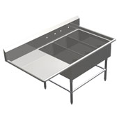 Pro Bowl NSF Platter Three Bowl Sink (3) 14'' W x 31'' D x 12'' Bowl Depth with 24'' Left Drainboard, 16-Gauge Stainless Steel