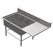 Pro Bowl NSF Platter Three Bowl Sink (3) 14'' W x 31'' D x 12'' Bowl Depth with 24'' Right Drainboard, 16-Gauge Stainless Steel