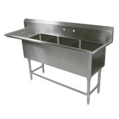 Pro Bowl NSF Compartment Three Bowl Sink (3) 18'' W x 24'' D x 14'' Bowl Depth with 18'' Left Drainboard, 16-Gauge Stainless Steel