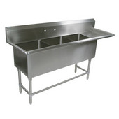 Pro Bowl NSF Compartment Three Bowl Sink (3) 30'' W x 24'' D x 12'' Bowl Depth with 30'' Right Drainboard, 16-Gauge Stainless Steel