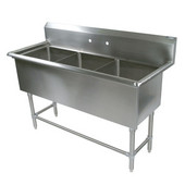 Pro Bowl NSF Compartment Three Bowl Sink (3) 30'' W x 24'' D x 12'' Bowl Depth with No Drainboard, 16-Gauge Stainless Steel