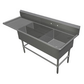 Pro Bowl Platter Sink, Three Bowls - (1) 24''W x 24''D x 12''H, (2) 32''W x 12''D x 12''H, Available in 14 or 16 Gauge Stainless Steel with Different Drainboard Options