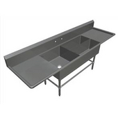 Pro Bowl Platter Sink, with 24'' Left & Right Drainboard, 16 Gauge Stainless Steel, Three Bowls - (1) 24''W x 24''D x 12''H, (2) 32''W x 12''D x 12''H