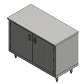 14-Gauge Commerical Modular Base Flat Top Stainless Steel Work Table 84'' W x 30'' D, Hinged Doors and 1 Fixed Shelf