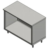 14-Gauge Commerical Modular Base Flat Top Stainless Steel Work Table 120'' W x 24'' D, Open Base and 1 Fixed Shelf