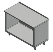 14-Gauge Commerical Modular Base Stainless Steel Work Table with 1-1/2'' Riser, 120'' W x 30'' D, Open Base and 1 Fixed Shelf