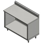 14-Gauge Commerical Modular Base Stainless Steel Work Table with 5'' Riser, 108'' W x 36'' D, Open Base and 1 Fixed Shelf