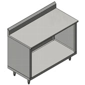 16-Gauge Commerical Modular Base Stainless Steel Work Table with 5'' Riser, 96'' W x 30'' D, Open Base