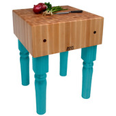 AB Block with 10'' Thick Hard Maple Top, Caribbean Blue, Numerous Sizes Available