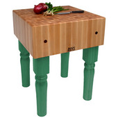 AB Block with 10'' Thick Hard Maple Top, Clover Green, Numerous Sizes Available