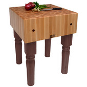 AB Block with 10'' Thick Hard Maple Top, Walnut Stain, Numerous Sizes Available