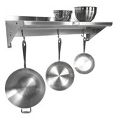 Stainless Steel Wall Shelf with Pot Rack, Several Sizes & Gauge Types Available
