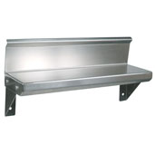 BHS Series Wall Mounted Spice Shelf 16'' W x 5'' D Flat Top with 4'' Rear Riser, 16-Gauge Stainless Steel