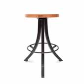 Foundry Collection 24'' Bistro Counter Height Swivel Bar Stool, American Cherry Wood Top With Wrinkle Black Base, 15''Diameter x 24''H