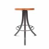 Foundry Collection 24'' Bistro Counter Height Swivel Bar Stool, American Cherry Wood Top With Clear Coat Base, 15''Diameter x 24''H