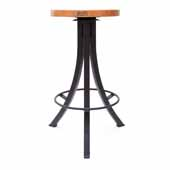 Foundry Collection 30'' Bistro Bar Height Swivel Bar Stool, American Cherry Wood Top With Wrinkle Black Base, 15''Diameter x 30''H