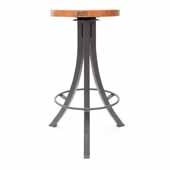 Foundry Collection 30'' Bistro Bar Height Swivel Bar Stool, American Cherry Wood Top With Clear Coat Base, 15''Diameter x 30''H
