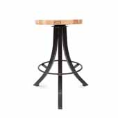 Foundry Collection 24'' Bistro Counter Height Swivel Bar Stool, Northern Hard Rock Maple Wood Top With Wrinkle Black Base, 15''Diameter x 24''H