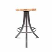 Foundry Collection 24'' Bistro Counter Height Swivel Bar Stool, Northern Hard Rock Maple Wood Top With Clear Coat Base, 15''Diameter x 24''H