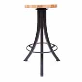 Foundry Collection 30'' Bistro Bar Height Swivel Bar Stool, Northern Hard Rock Maple Wood Top With Wrinkle Black Base, 15''Diameter x 30''H