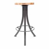 Foundry Collection 30'' Bistro Bar Height Swivel Bar Stool, Northern Hard Rock Maple Wood Top With Clear Coat Base, 15''Diameter x 30''H