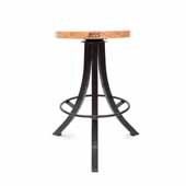 Foundry Collection 24'' Bistro Counter Height Swivel Bar Stool, Appalachian Red Oak Wood Top With Wrinkle Black Base, 15''Diameter x 24''H