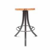 Foundry Collection 24'' Bistro Counter Height Swivel Bar Stool, Appalachian Red Oak Wood Top With Clear Coat Base, 15''Diameter x 24''H