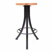Foundry Collection 30'' Bistro Counter Height Swivel Bar Stool, Appalachian Red Oak Wood Top With Wrinkle Black Base, 15''Diameter x 30''H