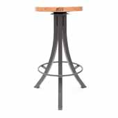 Foundry Collection 30'' Bistro Bar Height Swivel Bar Stool, Appalachian Red Oak Wood Top With Clear Coat Base, 15''Diameter x 30''H